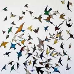 Swallows circling - Contemporary, Acrylic on canvas laid on board, 21st Century