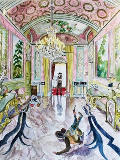 Roman Holiday VII: Pink Room- Contemporary, Watercolor on Paper, 21st Century