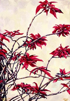 Poinsettia Tree, Claremont II-Contemporary painting, Oil on Canvas, 21st Century