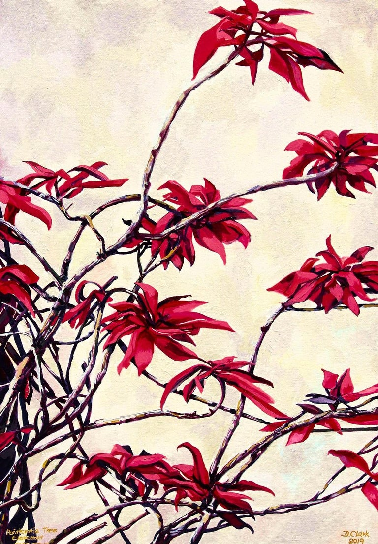 Dorothy Clark Landscape Painting - Poinsettia Tree, Claremont II-Contemporary painting, Oil on Canvas, 21st Century