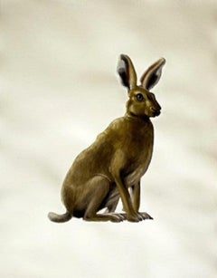 Shrub Hare facing Right- Contemporary painting, Oil & Varnish on Hahnemuehle