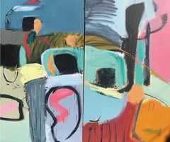 Diptych: Horseshoe in Mexico - Abstract, Acrylic on Canvas, 21st Century