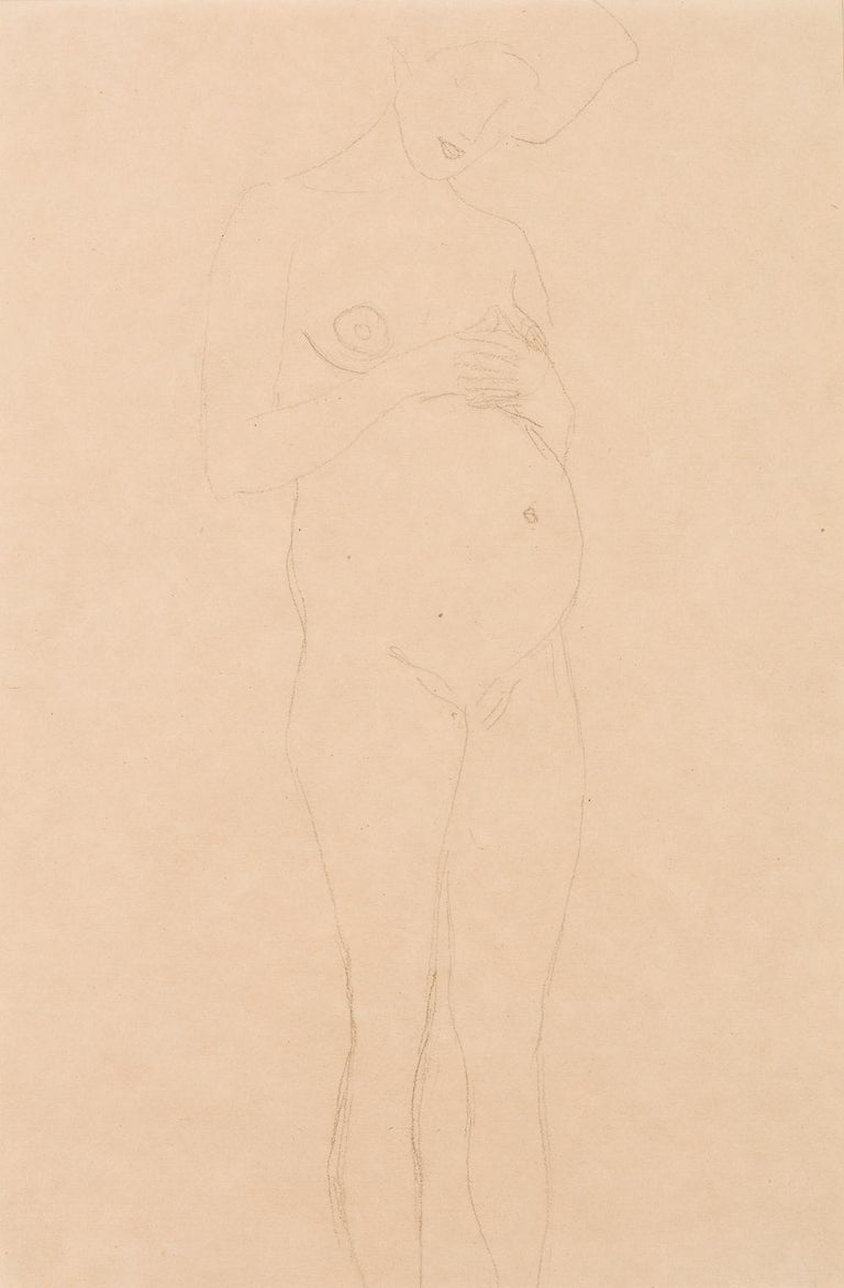 Standing Pregnant Woman, Study for Hope I - drawing, Gustav Klimt, nude, woman - Art by Gustav Klimt