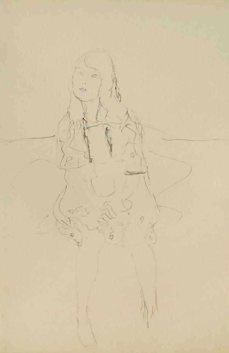 Gustav Klimt Figurative Art - Study for the Portrait of Mäda Primavesi - Drawing of a young girl
