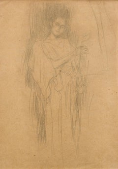 "Study for ""Sacred and Profane Music"" - Drawing of a Female Figure in a Long Gown"