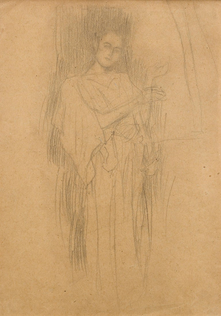 """Gustav Klimt Figurative Art - Study for """"Sacred and Profane Music"""" - Drawing of a Female Figure in a Long Gown"""