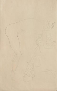 Standing Nude Leaning Forwards  Iconic drawing related to the Beethoven Frieze