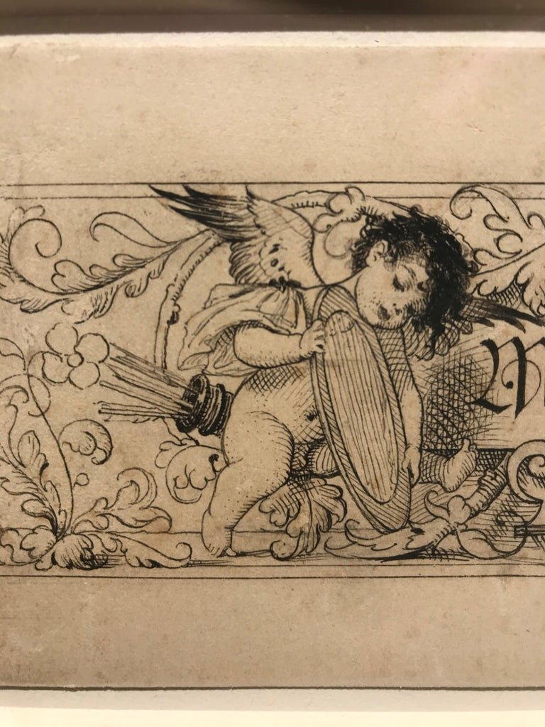 Angel Holding a Mirror, and Child Dressed as a Woman - Original Klimt Drawing For Sale 4