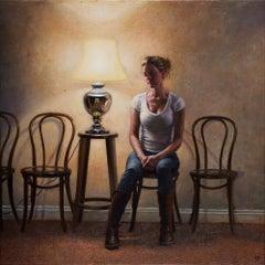 'The Waiting Room' Original British Figurative Oil Painting by Scottish Artist