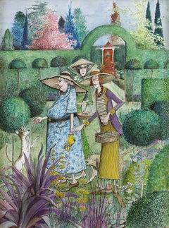 'Garden Visit' Original Watercolour Illustration by British social satirist