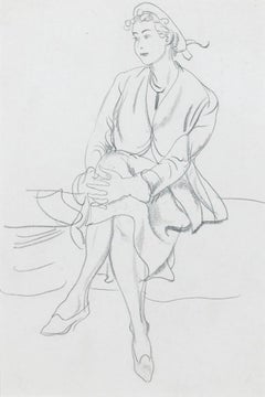 'Resting' Original Modern British Mid Century Master Drawing Illustration