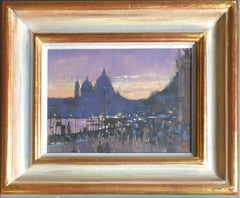 'Evening Light-Towards the Zecca' traditional British cityscape, oil painting