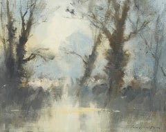 'Trees by the Water's Edge - Costwolds Water Park' by British Impressionist