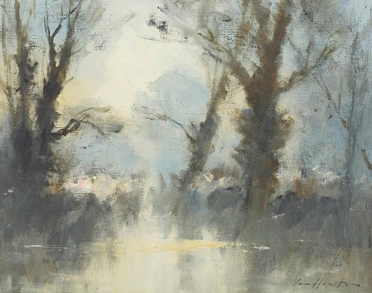 'Trees by the Water's Edge - Costwolds Water Park' by British Impressionist  - Painting by Ian Houston