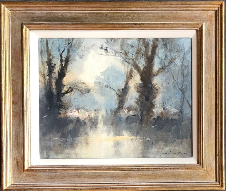 Ian Houston Landscape Painting - 'Trees by the Water's Edge - Costwolds Water Park' by British Impressionist