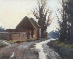 'Barns in the lane at Ludham, Norfolk' by Contemporary British Impressionist
