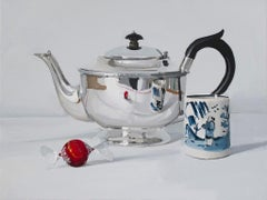 'Silver Teapot with Chocolate and cup' British Realist still life oil painting