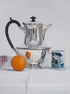 Silver Coffee pot with Mandarin & cup' British Realist still life oil painting