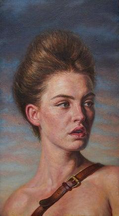 'Woman with a Satchel' Original British Figurative Oil Painting, Scottish Artist