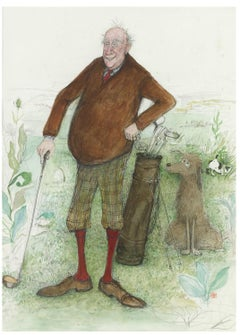 The Old Fashioned Golfer - Original Illustration, British social satirist