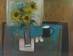Still Life of Sunflowers - Semi-Abstract Oil Painting by 20thC Scottish Painter