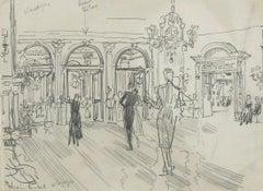 'Dancing at Claridges' Modern British Mid Century Master Drawing Illustration