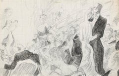 'Taking their seats' Modern British Mid Century Master Drawing Illustration