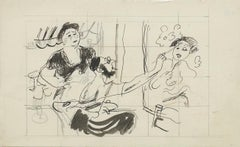 'Artist and Muse' Modern British Mid Century Master Drawing Illustration