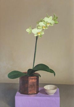 'Green Orchid in Copper Pot' British Realist still life oil painting