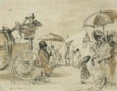 'Cavalry Club, 1939' Modern British Mid Century Master Drawing Illustration