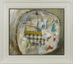 'Table with Birdcage' Still Life Oil Painting, Modern British style