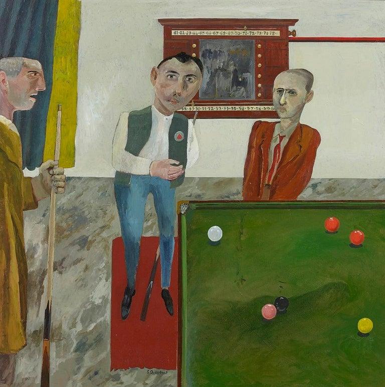 'The Snooker Players' British Figurative Oil Painting, Modern British style - Black Still-Life Painting by Simon Quadrat PPRWA NEAC