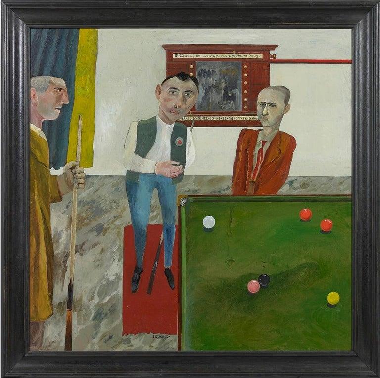 Simon Quadrat PPRWA NEAC Still-Life Painting - 'The Snooker Players' British Figurative Oil Painting, Modern British style