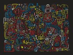 "Jon Burgerman, ""Nightlines"", 4-Color Screen Print, 2015"