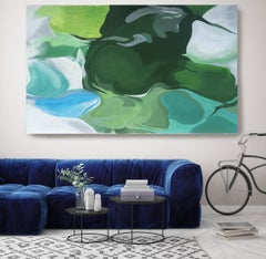 """Green Blue Abstract Oil Painting 48 H X 72 W"""", Ode To Spring, Irena Orlov"""