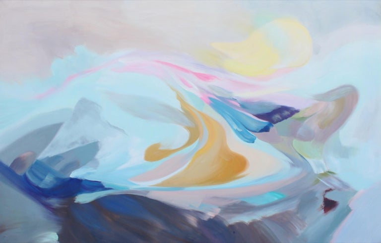 """Irena Orlov Abstract Painting - Blue Pink Abstract Acrylic Painting on Canvas 46H X 72""""W The Song of Blue Water"""