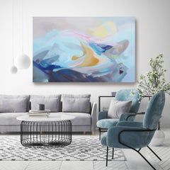 """Coastal Blue Pink Abstract Acrylic Painting Canvas 42X68"""" The Song of Blue Water"""