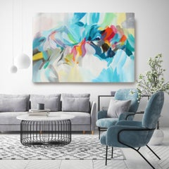 "Blue Red Abstract Acrylic Painting on Canvas 42 H X 68"" W, Song of the Sea"
