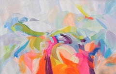 "Abstract Colorful Original Acrylic Painting 46 H X 72"" W, Dynamic Perseverance"