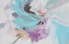 "Abstract Blue Purple Original Acrylic Painting 46 H X 72"" W, Delicate Breath"