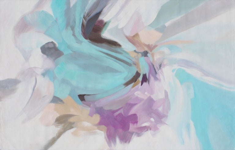 "Irena Orlov Abstract Painting - Abstract Blue Purple Flow Original Acrylic Painting 46H X 72"" W, Delicate Breath"