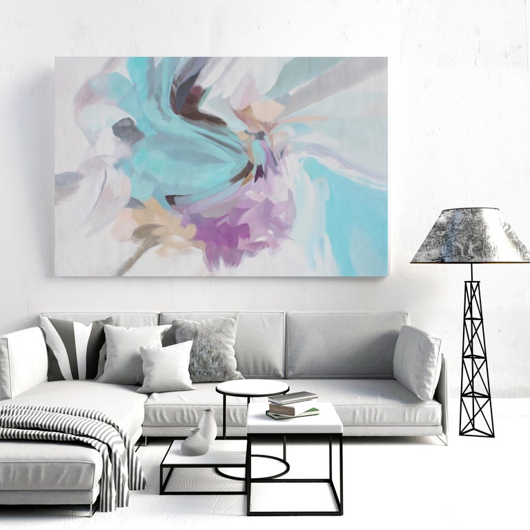 Abstract Blue Purple Original Acrylic Painting (rolled) 46 H X 72