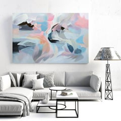 "Large Abstract Blue Pink Acrylic Painting 42 H X 68""W, Display of Sensitivity"