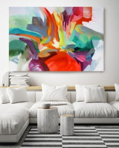 """Abstract Flow Red Blue Acrylic Painting 42 H X 68""""W, Consequence of Love"""