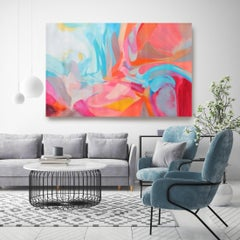 """Abstract Flow Red Blue Acrylic Painting 42 H X 68""""W, Balance of Independence"""