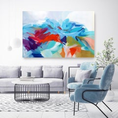 """Abstract Red Blue Original Acrylic Painting 42 H X 68""""W, Abstract Miracle"""