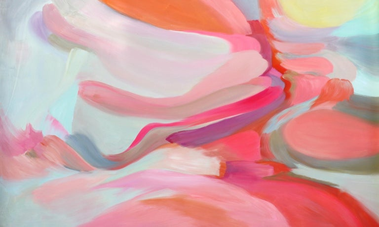"""Irena Orlov Abstract Painting - Abstract Red Pink Original Acrylic Painting 46 H X 72""""W, Impure Romance"""