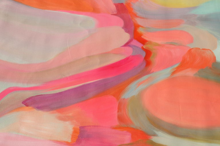 Abstract Red Pink Original Acrylic Painting 46 H X 72