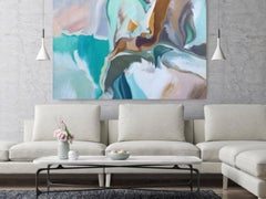 """Abstract Blue Brown Original Acrylic Painting 42 H X 68""""W, Expression of Balance"""