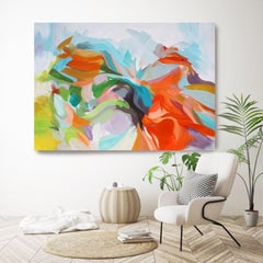 """Abstract Red Blue Green Original Acrylic Painting 42 H X 68""""W, Gifts of Flame"""